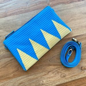 Blue and Yellow Crossbody or Clutch